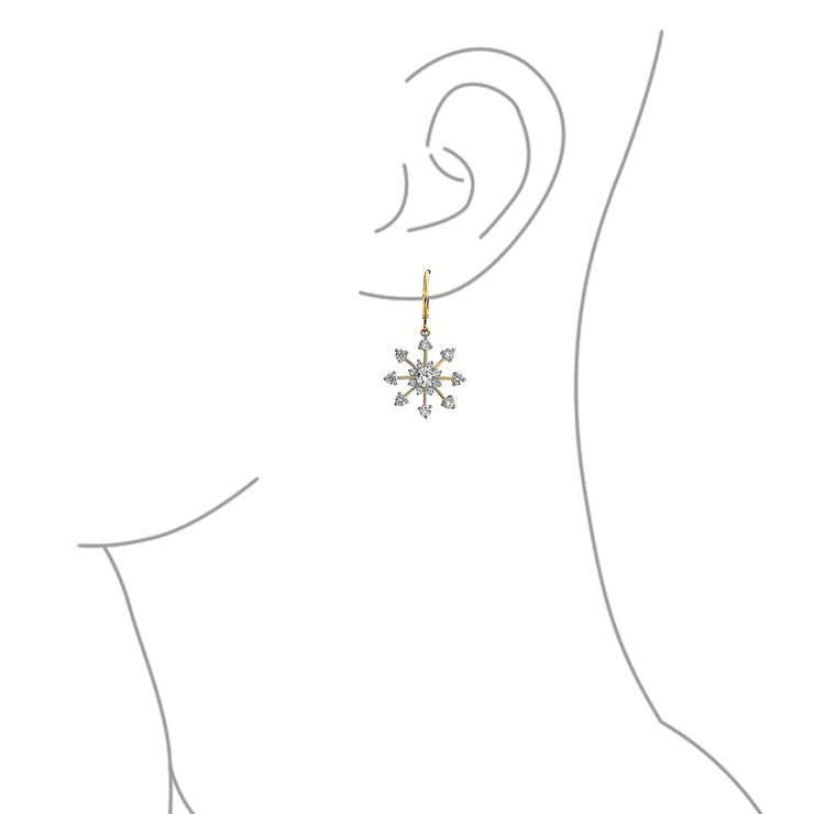 Christmas Leverback Winter CZ Snowflake Dangle Earrings Gold Plated