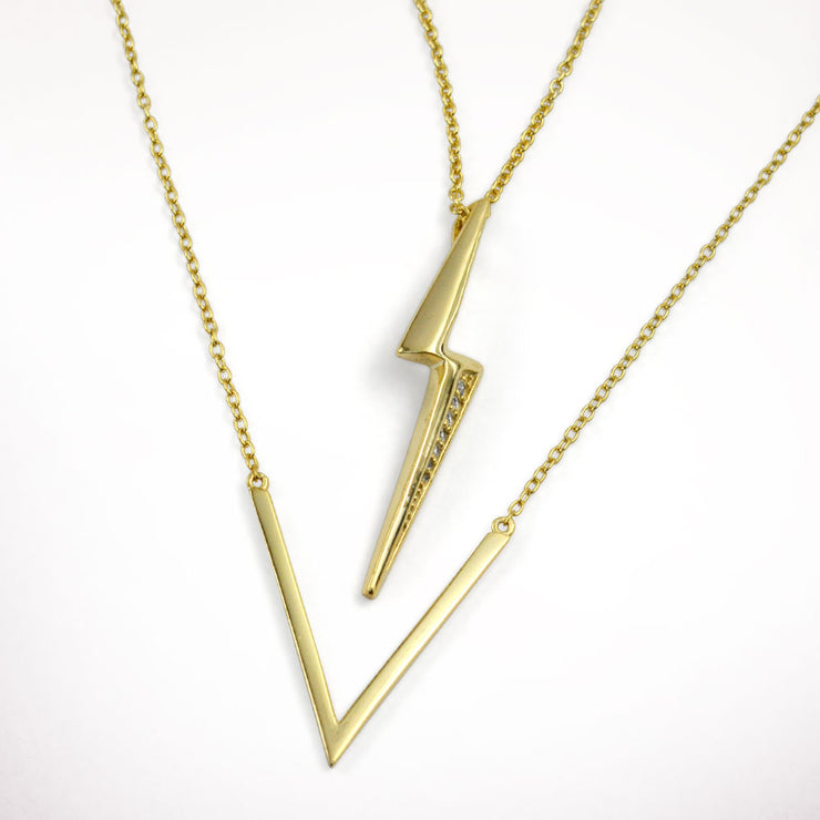 Lightning Bolt Dangle Pendant Necklace Gold Plated Sterling Silver