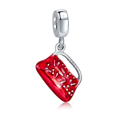 Red Clutch Purse Pocketbook Handbag Dangle Charm Bead Sterling Silver