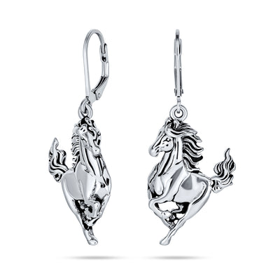 Equestrian Equine Galloping Horse Dangle Earrings 925 Sterling Silver