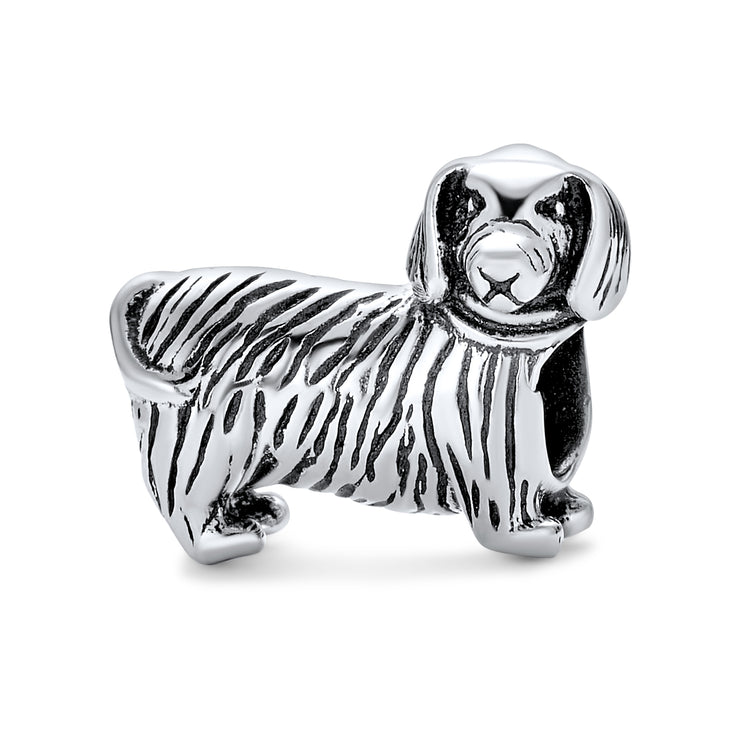 Puppy Pet Animal Lover Dachshund Hot Dog Charm Bead Sterling Silver