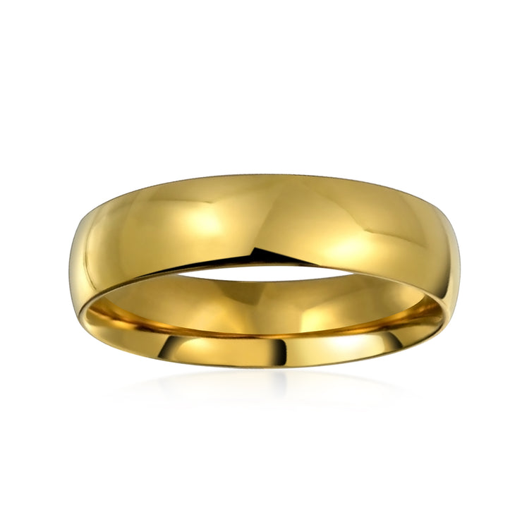 Dome Wedding Band Rings For Couples 14k Gold plate Stainless Steel 5MM