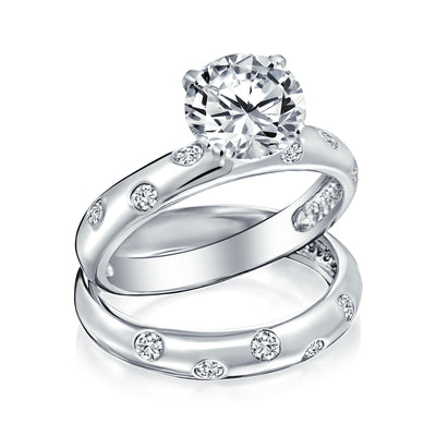 3CT Etoile AAA CZ Engagement Ring Wedding Band Set 925 Sterling Silver
