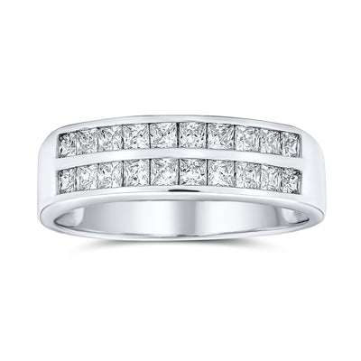 Channel Set Princess Cut AAA CZ Wedding Band Ring 925 Sterling Silver