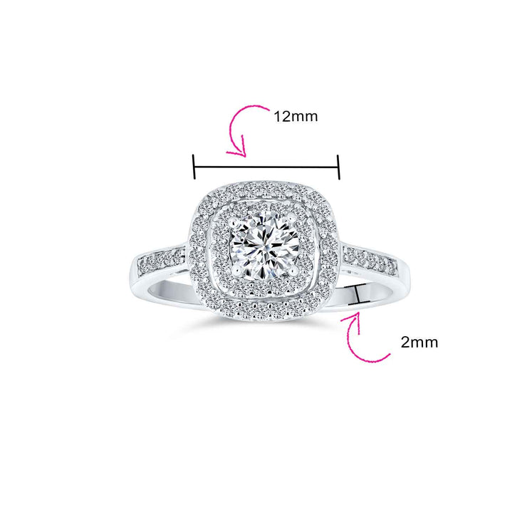 1CT Square Halo Solitaire Engagement Ring AAA CZ 925 Sterling Silver