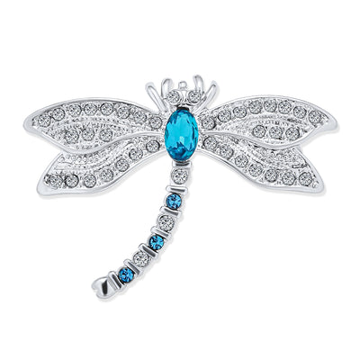 Garden Butterfly Dragonfly Brooch Pin CZ Blue Imitation Sapphire