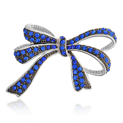Large Royal Blue Crystal Statement Bow Brooch Rhodium Plated Brass