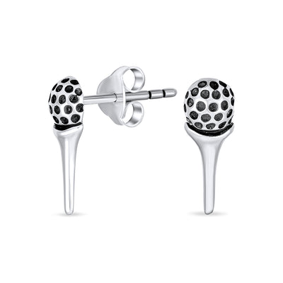 Golf Tee Ball Sports Put Two Tone Stud Earrings Golfer Sterling Silver