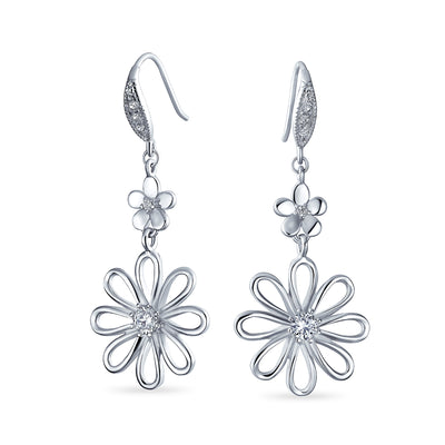 Daisy Flower Shape CZ Dangle Earrings French Wire Sterling Silver