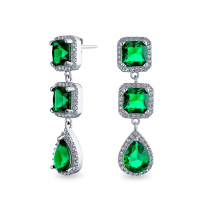 Green CZ Statement Chandelier Earring Imitation Emerald Silver Plated