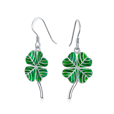 Green Shamrock Lucky Four Leaf Clover Celtic Earrings Sterling Silver