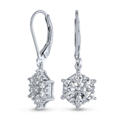Marquise Winter CZ Snowflake Leverback Drop Earrings Sterling Silver