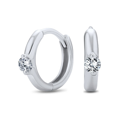 Cubic Zirconia Solitaire CZ Kpop Hoop Earrings Sterling Silver