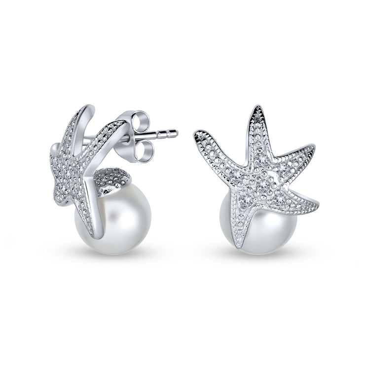 Bride White Imitation Pearl CZ Starfish Stud Earring Sterling Silver