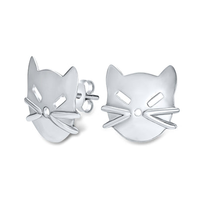 Animal Kitten Pet Kitty Cat Stud Earrings Shiny 925 Sterling Silver