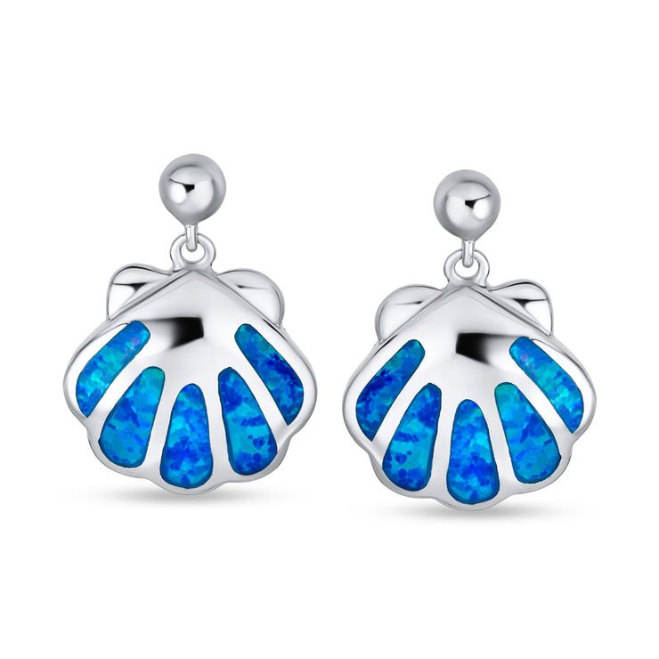 Created Blue Opal Nautical Beach Clam Stud Earrings Sterling Silver