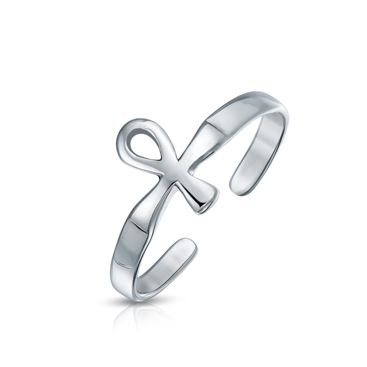 Egyptian Ankh Cross Shape Midi Toe Ring Polished 925 Silver Sterling