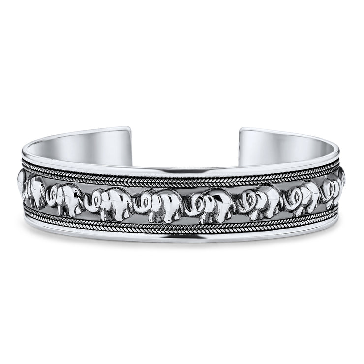 Good Luck Elephant Bangle Cuff Bracelet Solid Heavy Sterling Silver