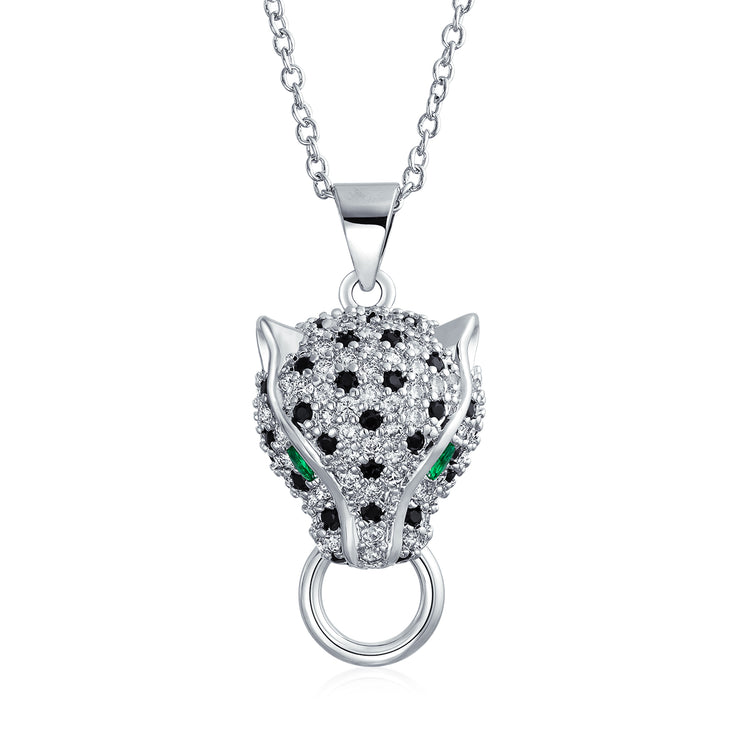 Black Panther Cat Green Eye Cubic Zirconia CZ Pendant Silver Plated
