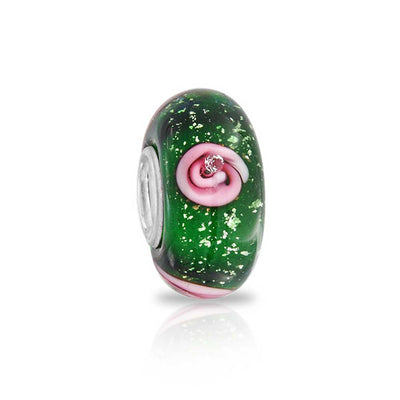 Floral Green Pink Flower Murano Glass Bead Charm 925 Sterling Silver