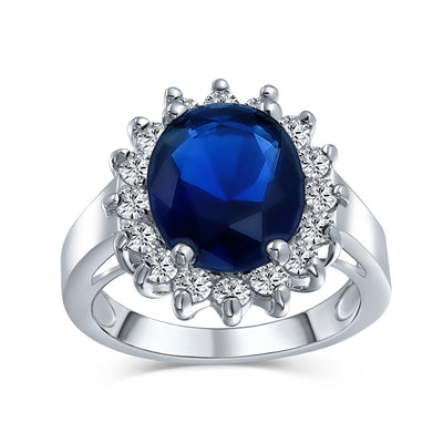 5CT Blue Oval Simulated Sapphire CZ Engagement Ring Silver Plate Brass