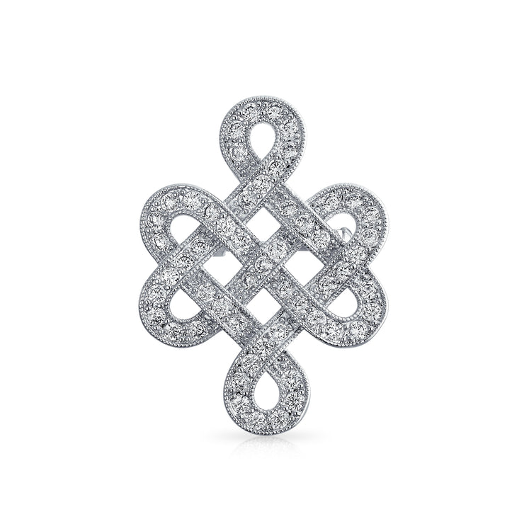 Celtic Love Knot Work Cubic Zirconia Pave CZ Wedding Brooch Pin