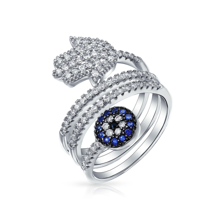 Blue CZ Pave Wrap A Boho Hamsa Evil Eye Band Ring Silver Plated Brass