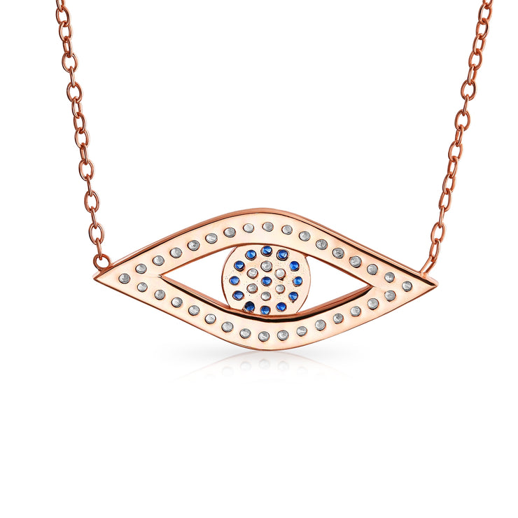 Evil Eye CZ Station Pendant Necklace Rose Gold Plated Sterling Silver