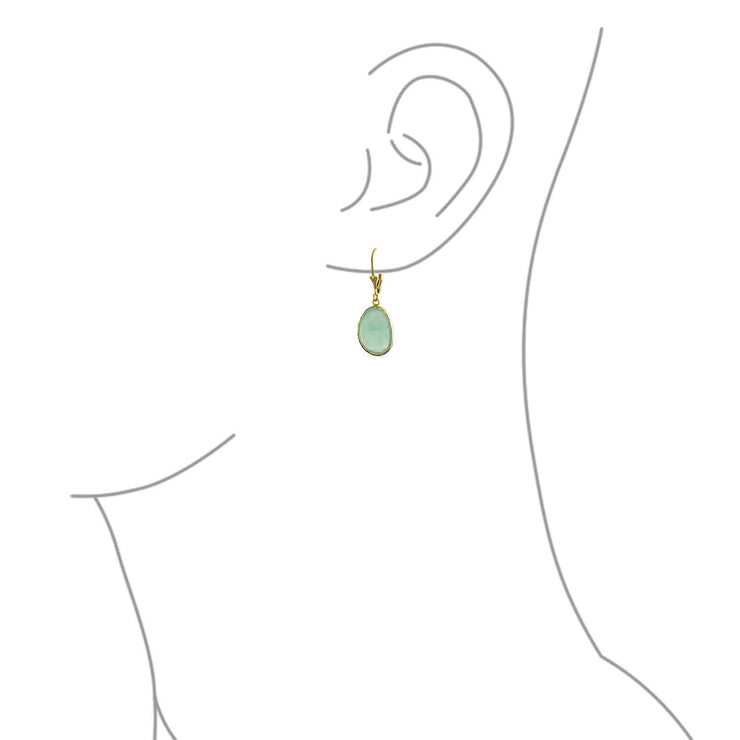 Aqua Green Chalcedony Dangle Earrings Gold Plated Sterling Silver