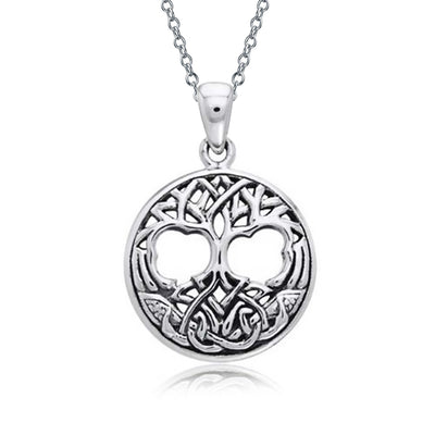 Circle Tree Of Life Pendant Celtic Knot Necklace 925 Sterling Silver