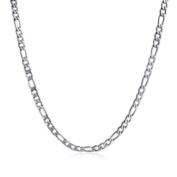 7MM Silver Tone Stainless Steel Necklace Figaro Chain Medium Width