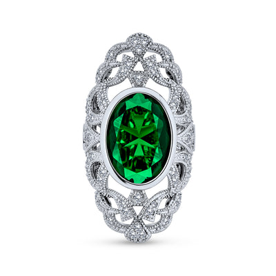 Green Armor Full Finger Ring Imitation Emerald CZ Silver Plated