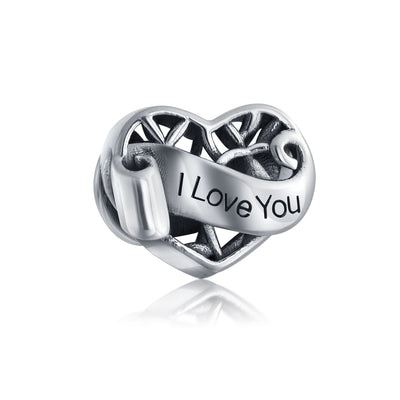 I Love You Words Heart Filigree Charm Bead 925 Sterling Silver