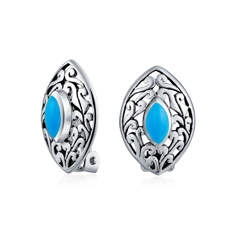 Filigree Marquise Blue Turquoise Clip On Earrings 925 Sterling Silver