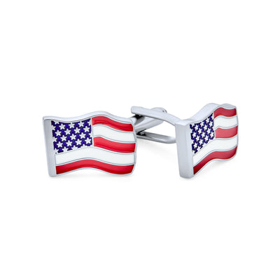 Patriotic USA Red Blue Flag Stars Stripes Cufflinks Stainless Steel