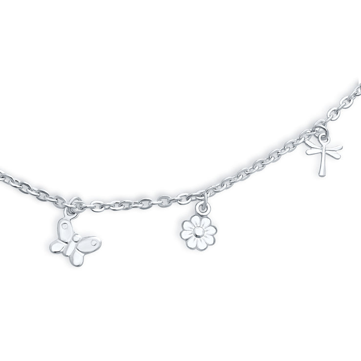 Multi Butterfly Dragonfly Flower Anklet Dangle Charm Sterling Silver
