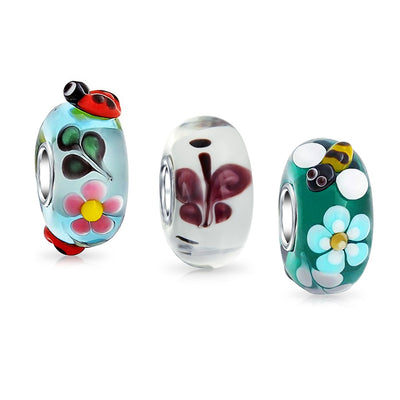 Ladybug Bee Butterfly Murano Glass Bead Charm Bundle Set 925 Silver