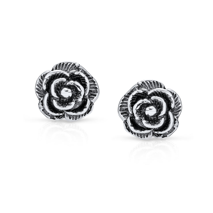 Garden Black Rose Flower Stud Earrings Oxidized 925 Sterling Silver