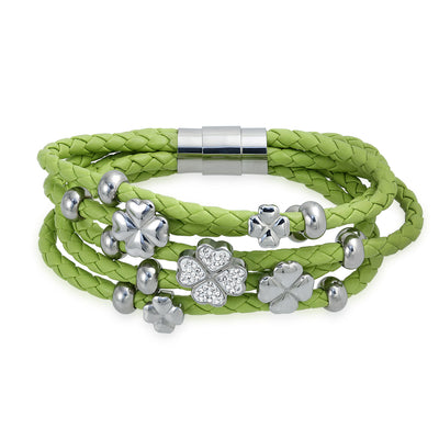 Green Shamrock Clover CZ Wrap Strand Leather Bracelet Stainless Steel
