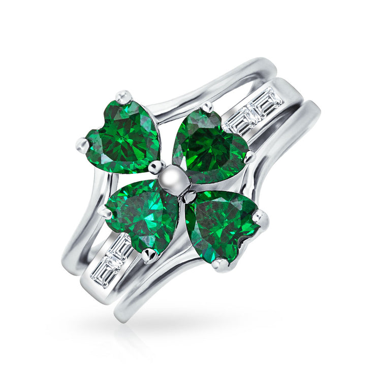 Leaf Green CZ Flower Shamrock Clover Ring Set 925 Sterling Silver