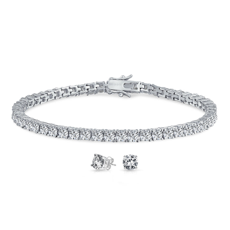 Solitaire CZ Thin Tennis Bracelet Earring Set 925 Sterling Silver