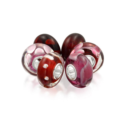 Pink Red Murano Glass Mix Set OF 6 Sterling Silver Bead Charm Bracelet
