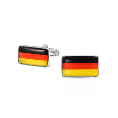Black Red Yellow German Flag Mens Cufflinks Stainless Steel