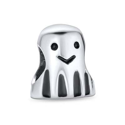 Spooky Halloween Ghost Bead Charm 925 Sterling Silver