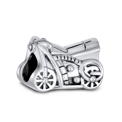 Motorcycle Biker Motorbike Travel Charm Bead 925 Sterling Silver