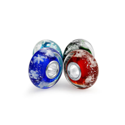 Multi Color Christmas Snowflake Murano Glass Bead Charm Set Sterling