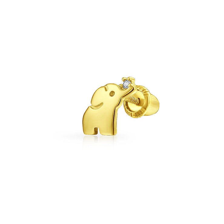 Minimalist Lucky Elephant Cartilage Earring Real 14K Gold Screwback