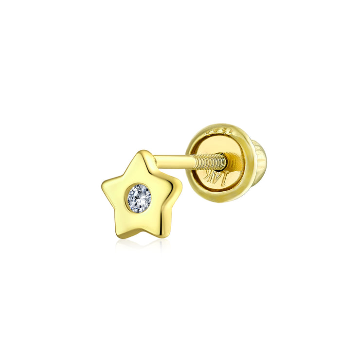 Celestial USA Patriotic Star CZ Ear Lobe Earring 14K Gold Screwback