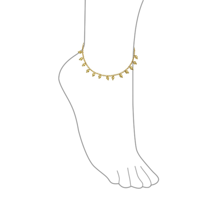 Multi Dangle Bead Charm Anklet Ankle Bracelet Gold Plated 9.5 Inch