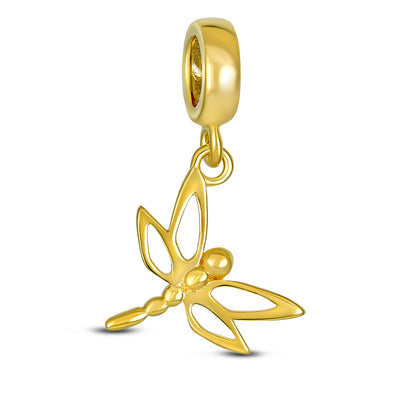 Dragonfly Butterfly Dangle Bead Charm Gold Plated Sterling Silver